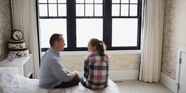 Father talking to daughter